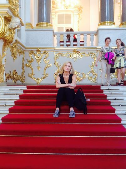 Exhausted by The Hermitage, St Petersburg, in July 2014. Someone's gotta do it!