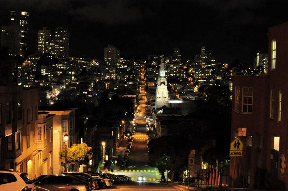 San Fran's Filbert Street at night