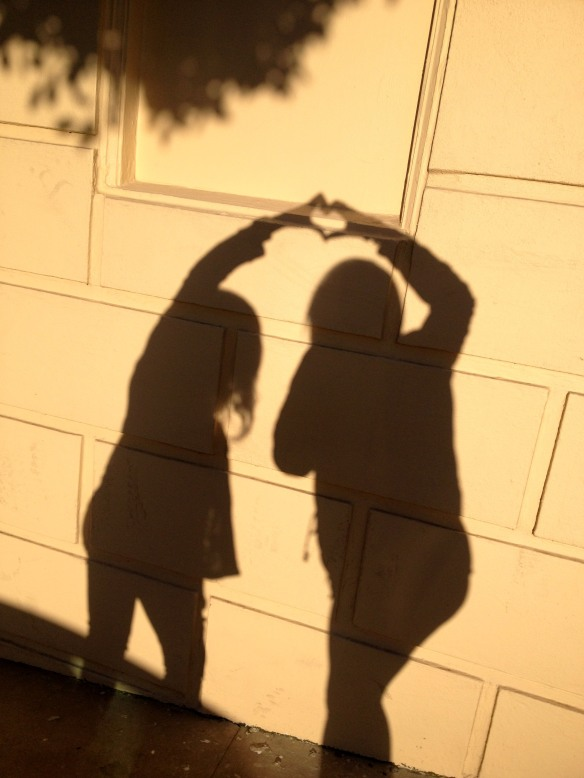 My sis and I making heart shadows