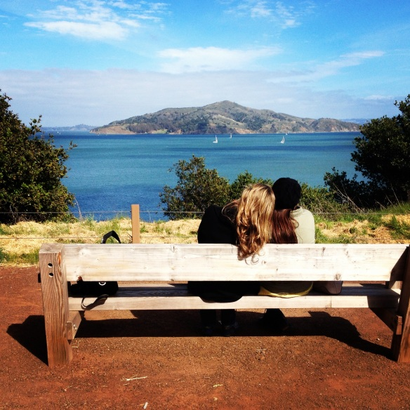Me and my sis - meeting of the minds as we look over the view from Sausalito