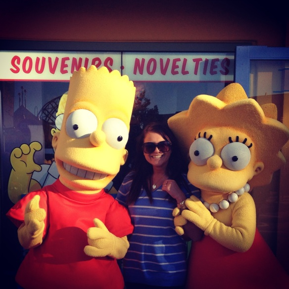 My sis with The Simpsons, at Universal Studios