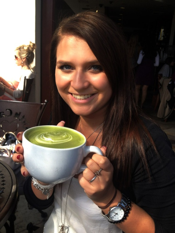 My sis, Kath, with her fave Moroccan Mint matcha drink at Urth Caffe