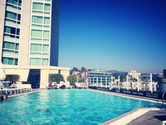 Chilling at the pool at the Loews Hotel hollywood
