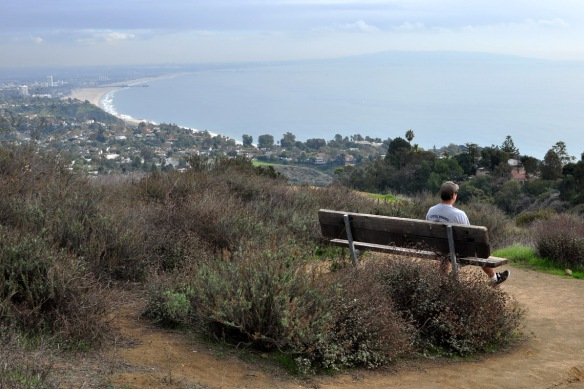 At the top of the Los Liones trail - Pacific to the right, and downtown to left (not seen in this photo)
