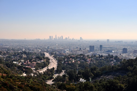 An overlook on Mulholland Drive - looking at LA's downtown