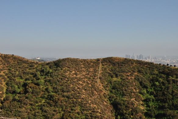 Griffith Observatory, left, and LA downtown, right.