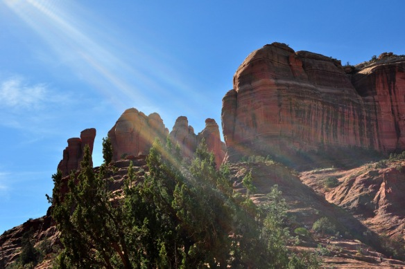 Sun streaming on Cathedral Rock