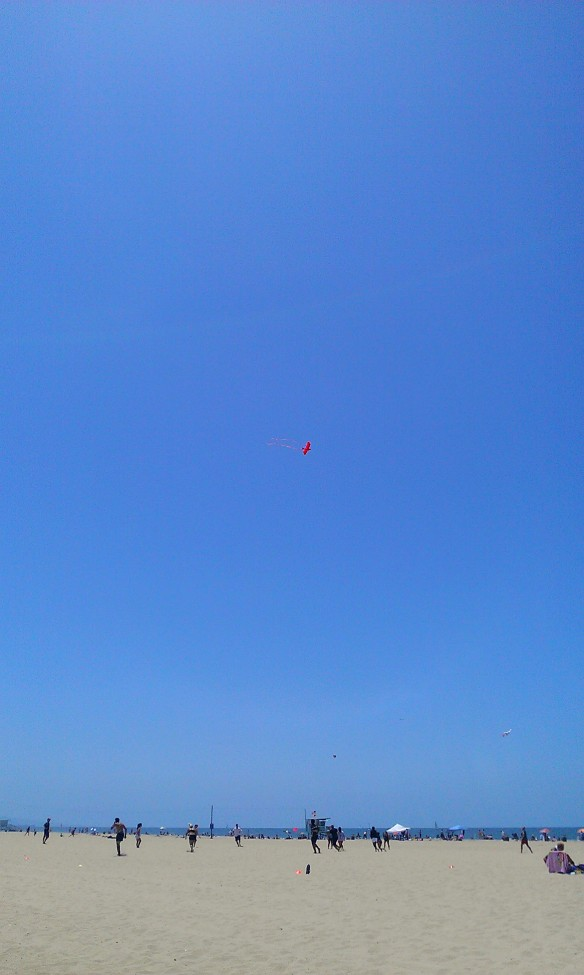 Kite flying on Santa Monica Beach