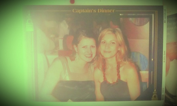 Me and my sis at the Captain's Dinner on a Carnival Cruise.