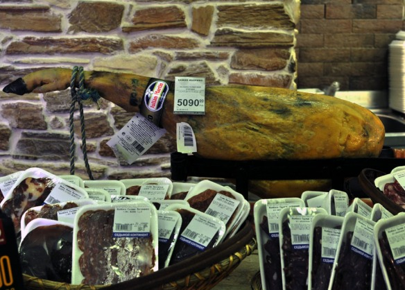 Jamon Iberico surrounded by salami and jerky. In Smolensky Gastronom.