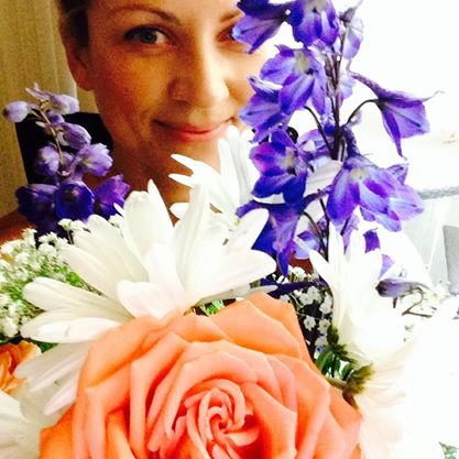July 2014, Brentwood, Los Angeles (Birthday flowers from Steph, Andrew, and Ben!)