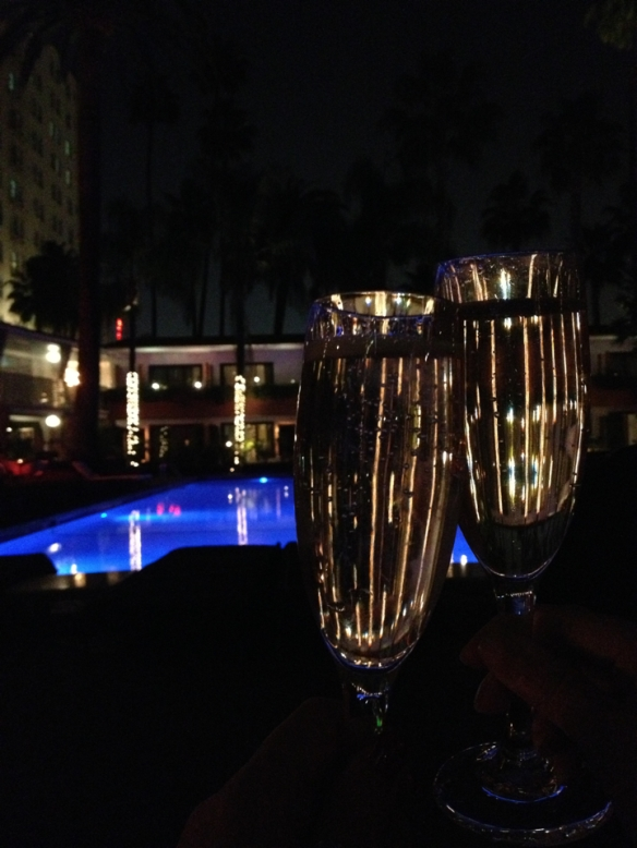 Champagne at the Tropicana Bar at The Roosevelt Hotel in Hollywood.
