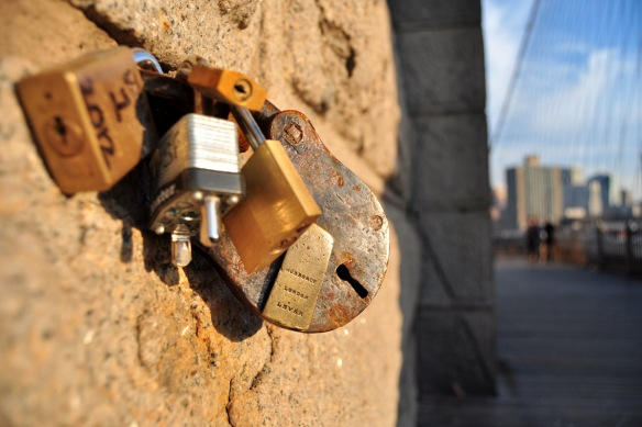 Love locks on Brooklyn Bridge, January 2012