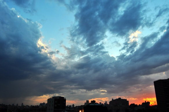 Sunset over Williamsburg Bridge, July 2012