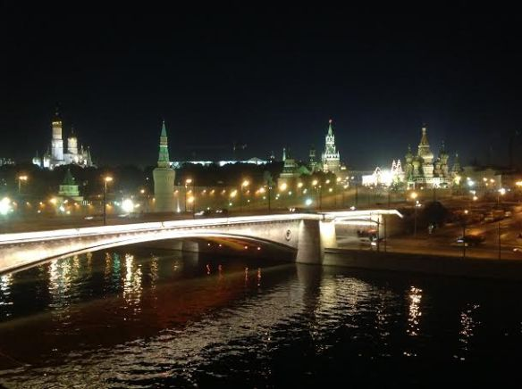 The Red Square illuminated from the Moscow River