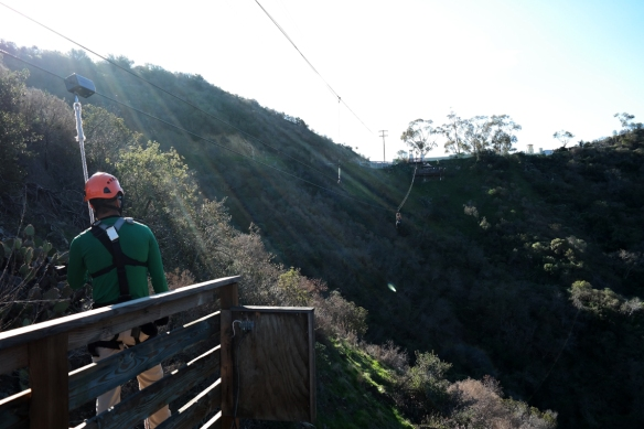 Zip lining (spot my husband on the line)