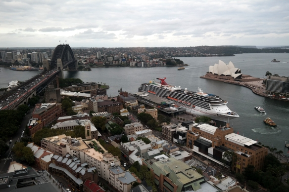The Rocks in the foreground. This photo was taken from the Shangri-La Hotel, Sydney.