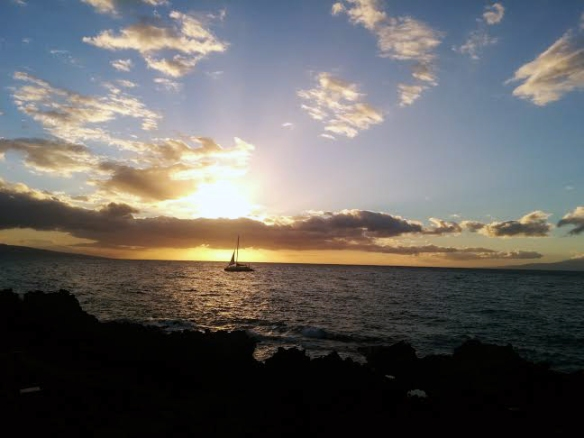 Boat with a Maui Sunset