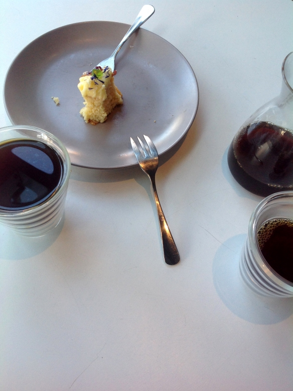 Pour over coffees and cake at Sensory Lab